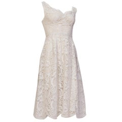 1950S White Couture Grade Lace Dress With Exceptional Hand Finishing