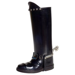 1950s Cowboy Boots Leather Umbrella Stand