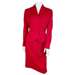 1950s Cranberry Red Suit with Trapunto Embroidery