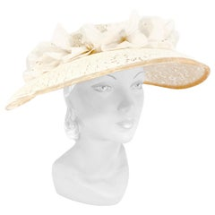 1950s Cream Lace Picture Hat