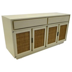1950s Cream Lacquered Woven Cane Front Mid Century Modern Credenza Sideboard