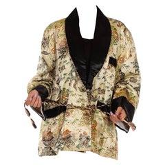 1950S Cream Multicolored Silk & Cotton Robe