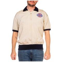 1950S Cream Rayon Blend Knit Zip Polo Shirt