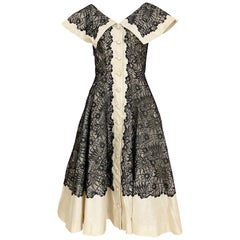 1950s Creme And Black Silk Lace cocktail Dress