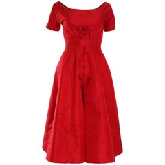 1950s Crimson Red Satin Vintage Prom Style Dress
