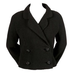 1950's CRISTOBAL BALENCIAGA haute couture black jacket with large buttons