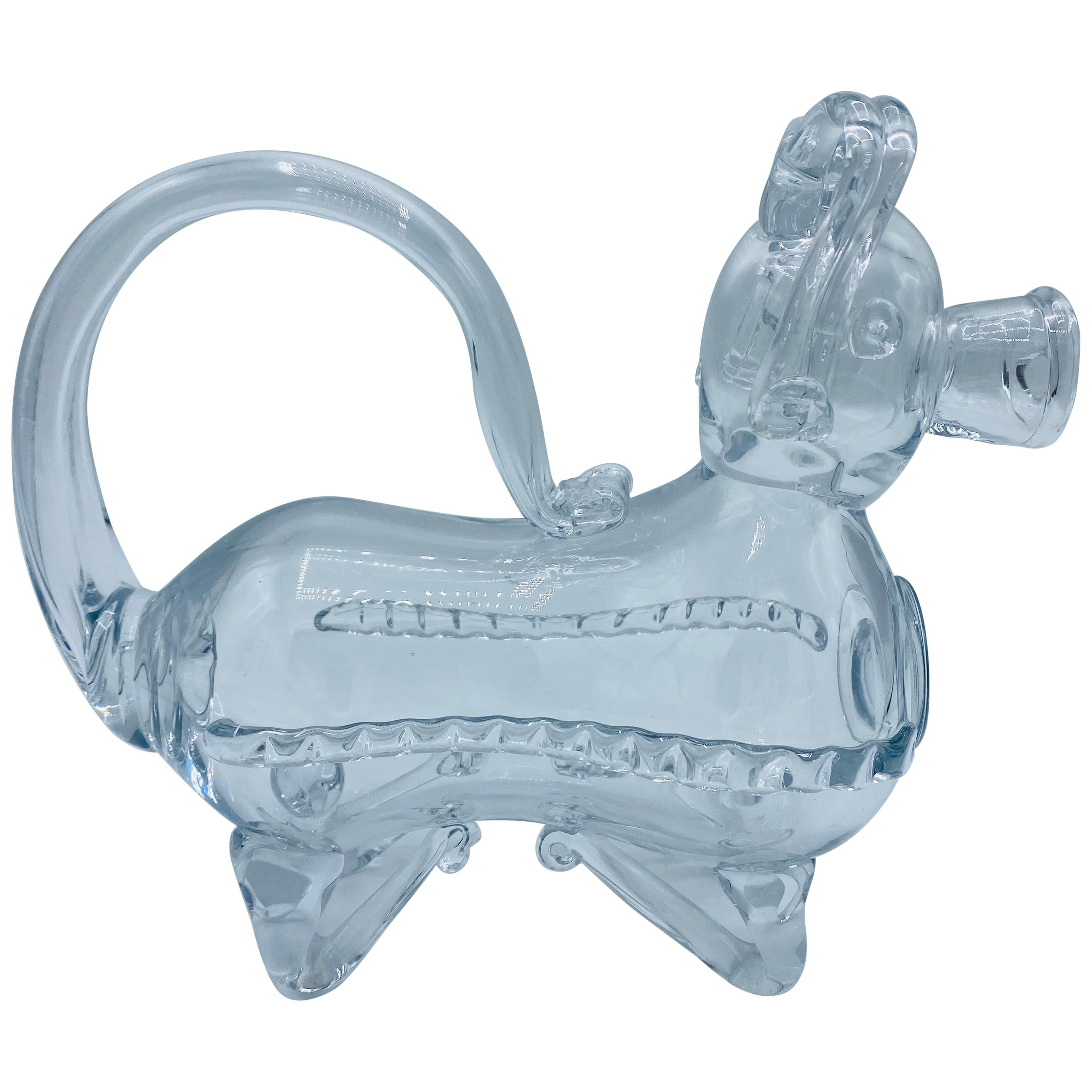 1950s Crystal Pig Wine Decanter