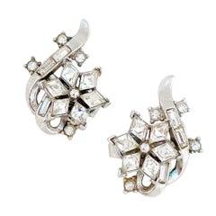 1950s Crystal Twinkle Series Earrings By Alfred Philippe For Crown Trifari