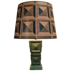 1950s Cubist Ceramic Table Lamp