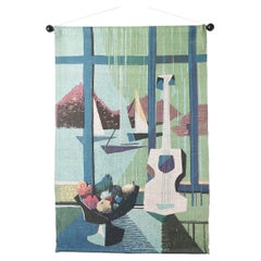 1950s Cubist Style Screen Printed Linen Wall Hanging, Bowl of Fruit Sailboats