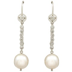 1950s Cultured Pearl and Diamond Platinum Drop Earrings