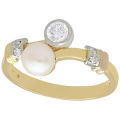 1950s Cultured Pearl and Diamond Yellow Gold Twist Ring