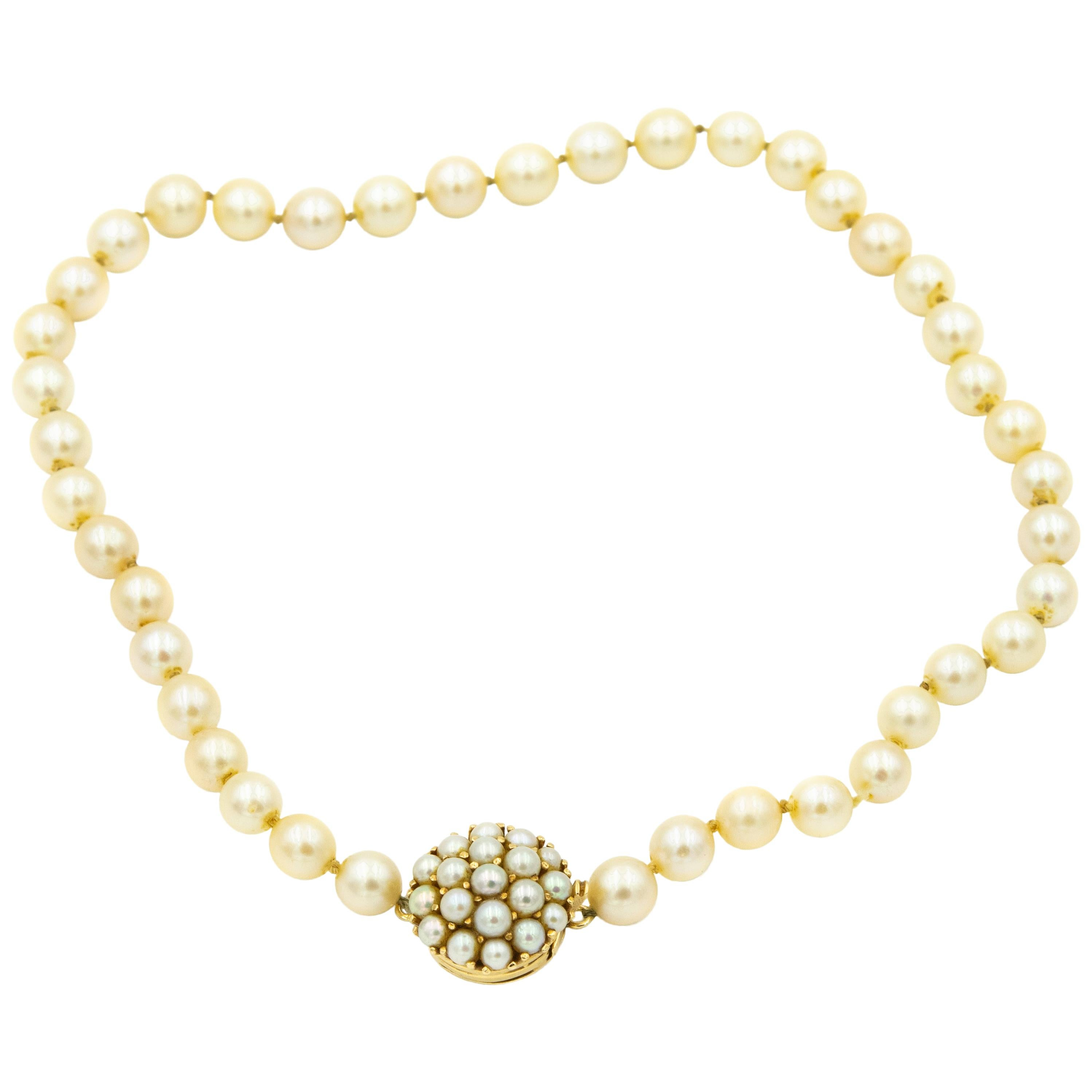 1950s Cultured Pearl Strand with Pearl Dome Cluster Yellow Gold Clasp Necklace