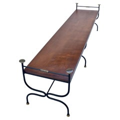 1950s Curule Form Iron &, Brass Bench in the Manner of Maison Jensen