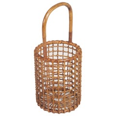 1950s Curved Wicker Basket Umbrella Stand by Franca Helg for Vittorio Bonacina