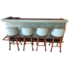 1950s Custom Bar and Four Bar Stools