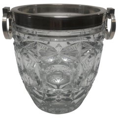 1950's Cut Crystal Ice Bucket by E.L.