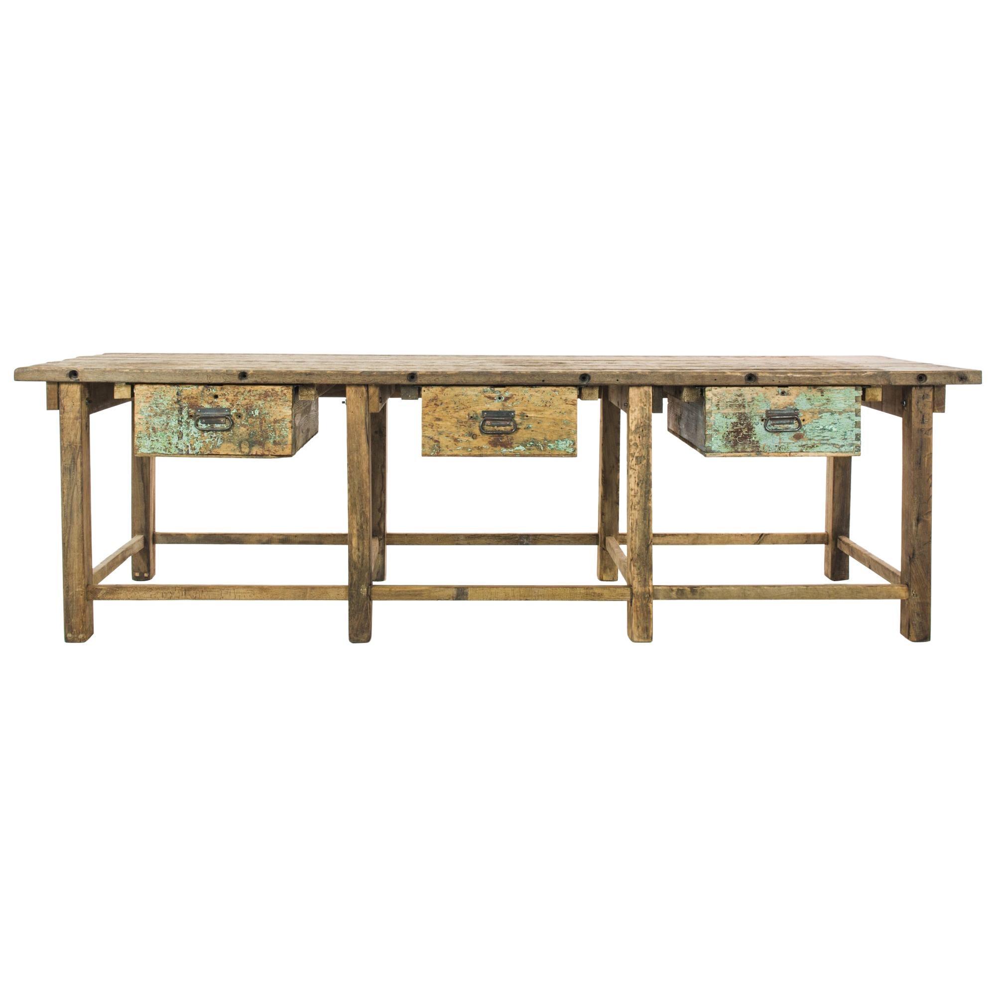 1950s Czech Industrial Wooden Work Table