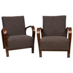 1950s Czech Pair of HF11 Jindrich Halabala by Interier Praha Lounge Chairs