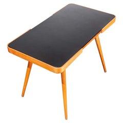 1950s Czech Side Occasional Table by Jiri Jiroutek, Black Opaxit Glass Table