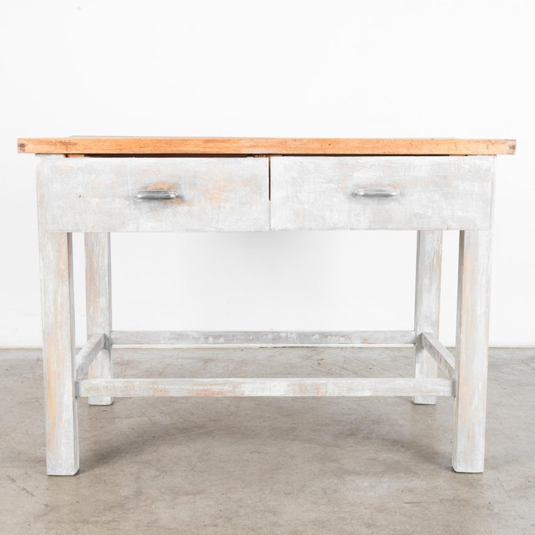 Industrial 1950s Czech Wood Patinated Table For Sale