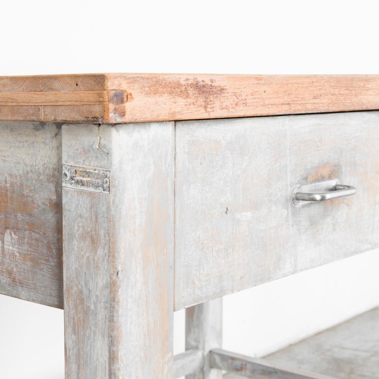 Metal 1950s Czech Wood Patinated Table For Sale