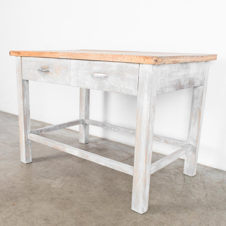 1950s Czech Wood Patinated Table For Sale 2