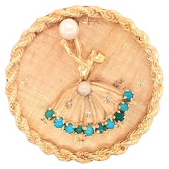 1950s Dancer Ballerina Pearl Turquoise Diamond Yellow Gold Circle Brooch Pin