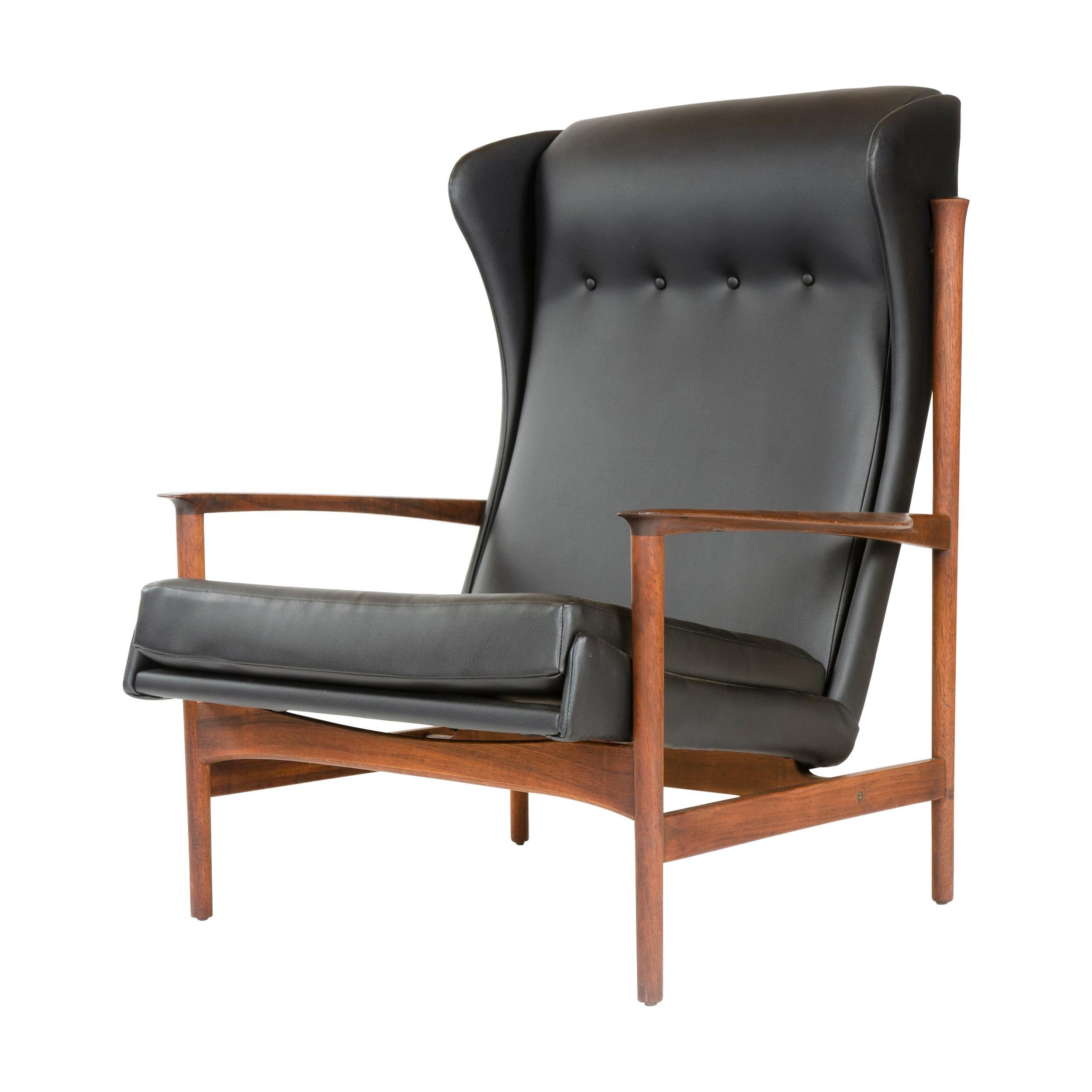 1950s Danish Black Leather Lounge Chair by Ib Kofod Larsen