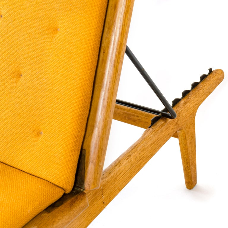 Upholstery 1950s Danish Chaise Lounge Chair and Footrest by Hans J. Wegner for GETAMA For Sale