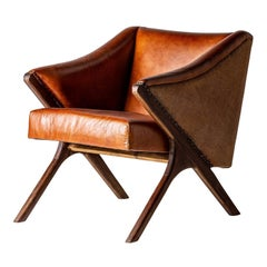 1950s Danish Design Style Cognac Leather and Wooden Armchair