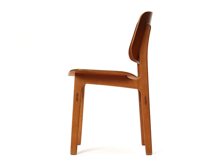 Molded 1950s Danish Dining Chairs by Borge Mogensen in Teak and Beech For Sale
