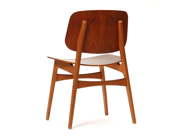 1950s Danish Dining Chairs by Borge Mogensen in Teak and Beech In Good Condition For Sale In Sagaponack, NY