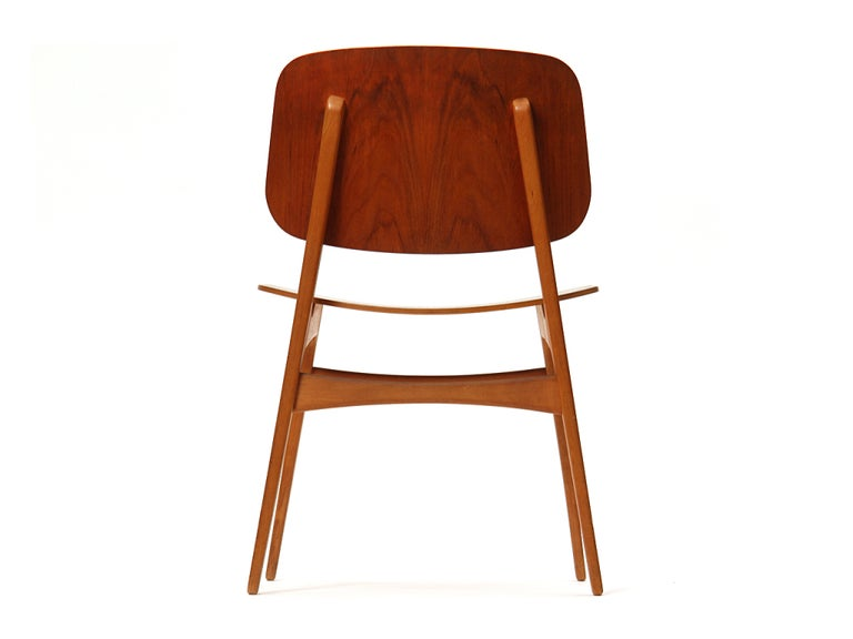 Mid-20th Century 1950s Danish Dining Chairs by Borge Mogensen in Teak and Beech For Sale