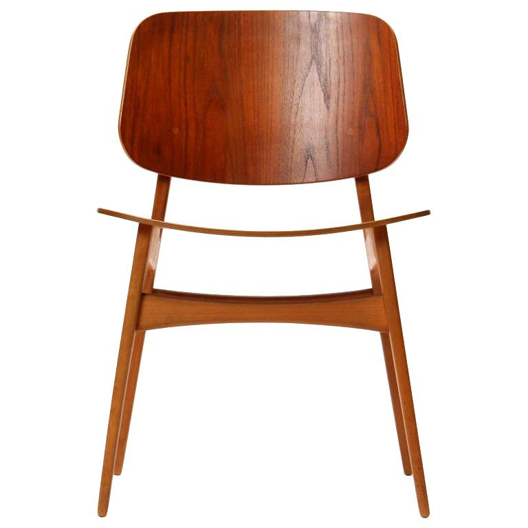 1950s Danish Dining Chairs by Borge Mogensen in Teak and Beech For Sale