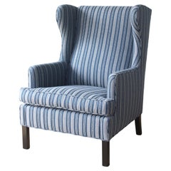 1950s Danish High Back Wing Chair Upholstered in Peter Dunham Textiles Fabric