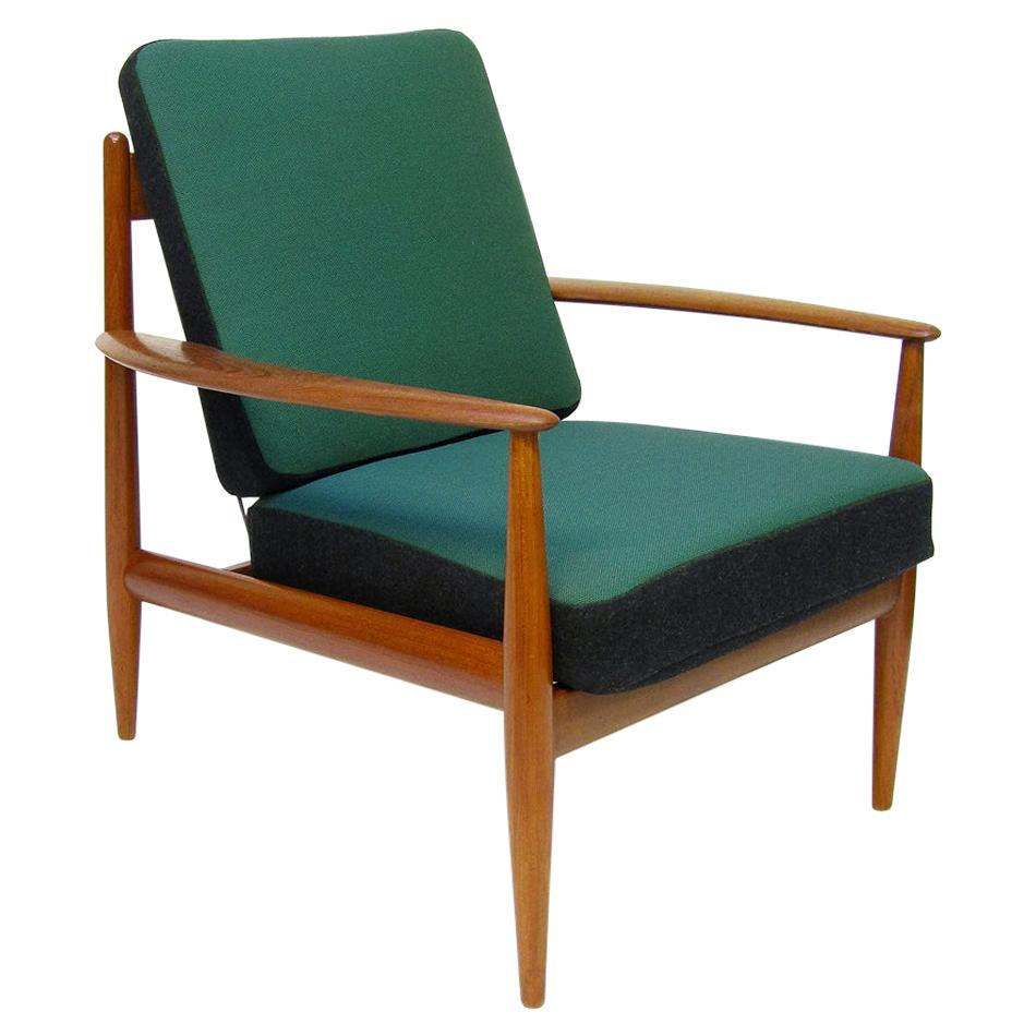 1950s Danish Lounge Chair in Teak and Kvadrat by Grete Jalk