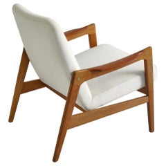 1950s Danish Modern Cabinetmakers Lounge Chair in White Kvadrat Wool