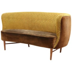 1950s Danish Modern Curved Banana Sofa in Canary Wool