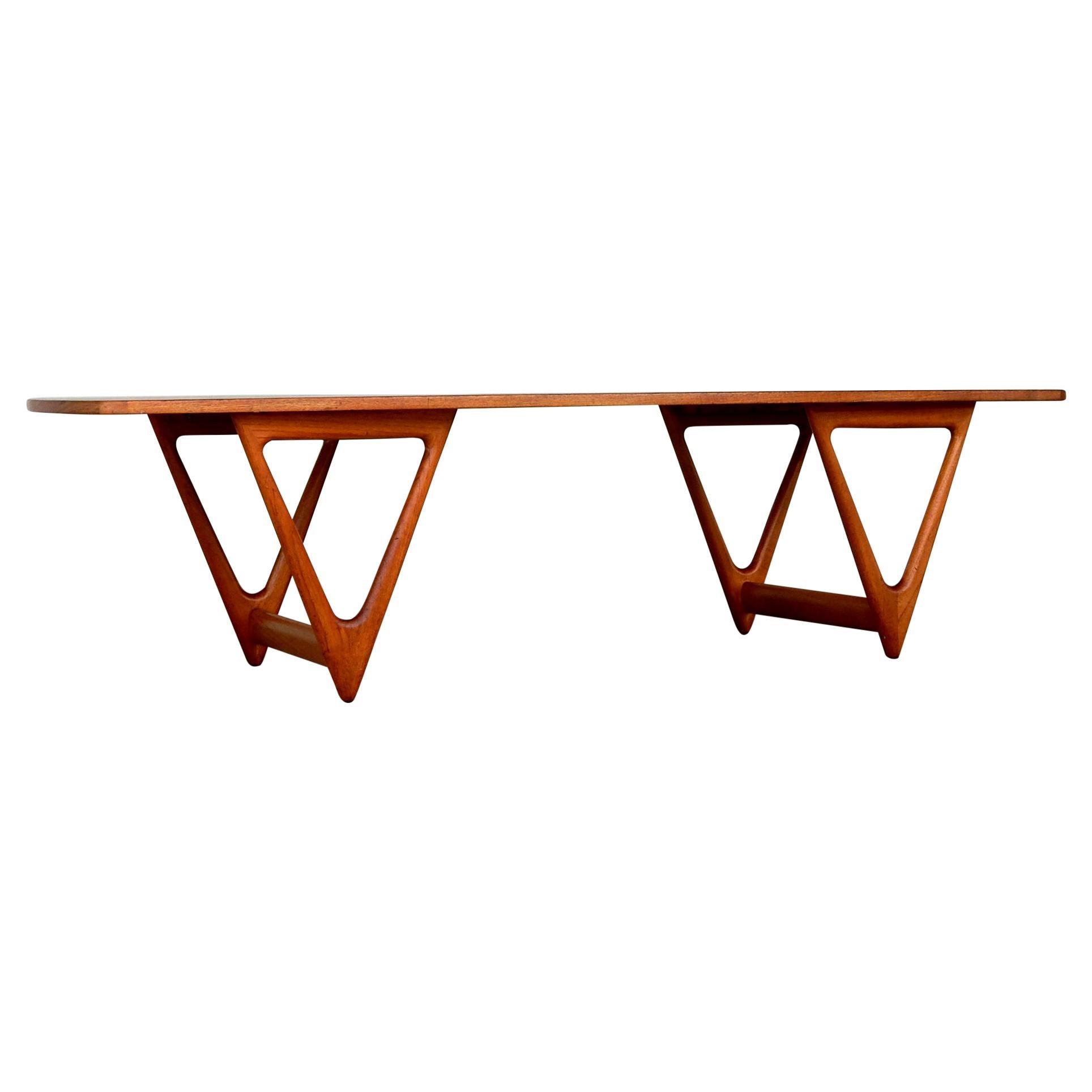 1950's Danish Modern Sculpted Leg Surfboard Cocktail Table by Kurt Østervig