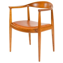 1950s Danish Oak Round Chair by Hans J. Wegner for Johannes Hansen