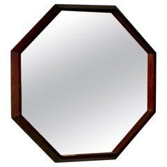 1950s Danish Octagonal Vintage Rosewood Wall Mirror