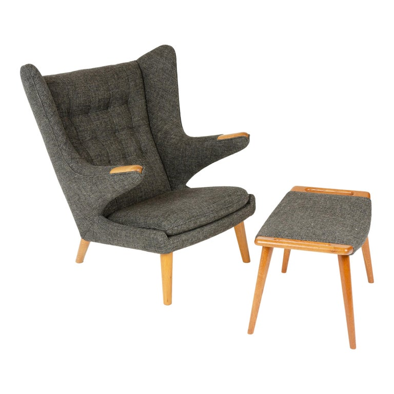 1950s Danish Papa Bear Chair and Ottoman by Hans J. Wegner for A.P. Stolen For Sale