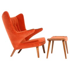 1950s Danish Papa Bear Chair and Ottoman by Hans J. Wegner for A.P. Stolen