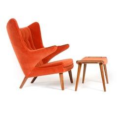 1950s Danish Papa Bear Chair and Ottoman by Hans J. Wegner for A.P. Stolen