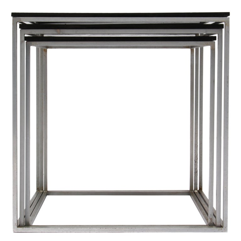A fine set of three (3) 'PK-71' nesting tables with black acrylic tops and steel cube frames. Also available with white acrylic tops.
