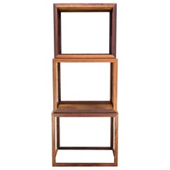 1950s Danish Rosewood Geometric Cube Stacking Cocktail Side Tables Mid-Century
