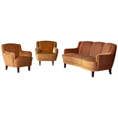 1950s Danish Settee and Matching Pair of Armchairs