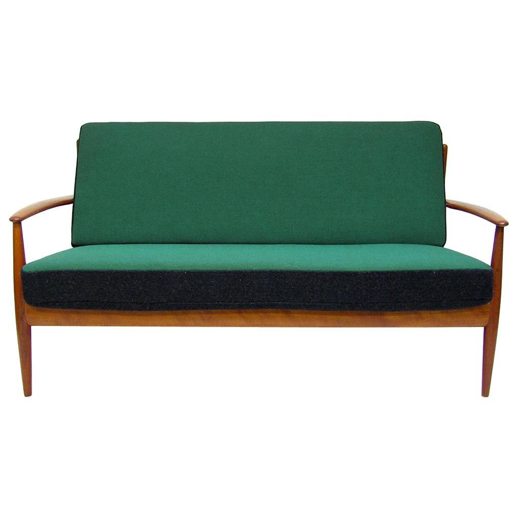 1950s Danish Sofa Loveseat by Grete Jalk in Teak and Kvadrat