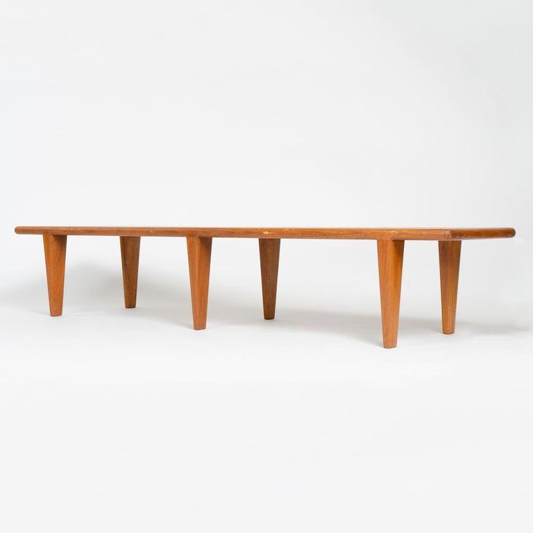 1950s Danish Solid Teak Slatted Bench by Hans J. Wegner for Johannes Hansen In Good Condition For Sale In Sagaponack, NY